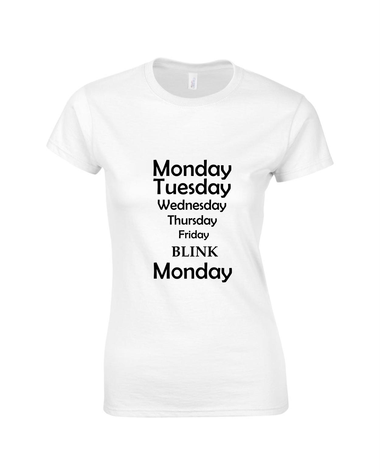 Tricou bumbac dama unisex alb negru imprimat serigrafie Blink