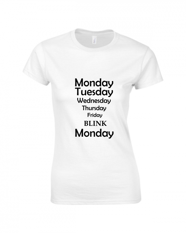 Tricou bumbac dama unisex alb negru imprimat serigrafie Blink | Toroadv.ro