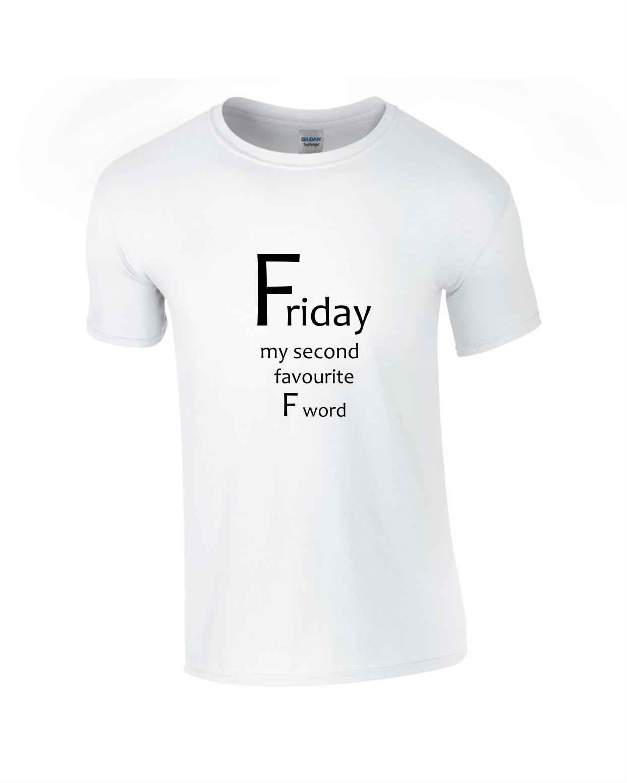 Tricou bumbac dama unisex alb negru imprimat serigrafie Friday
