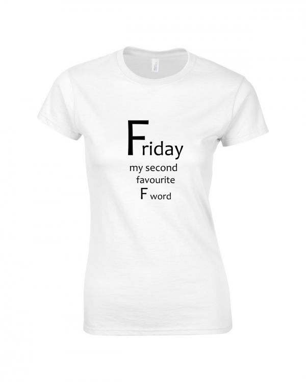 Tricou bumbac dama unisex alb negru imprimat serigrafie Friday | Toroadv.ro