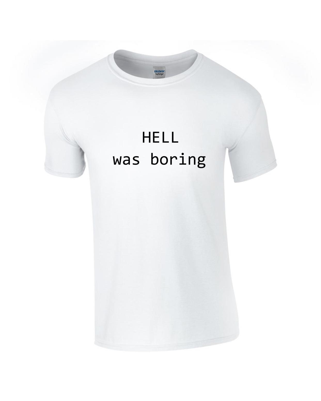 Tricou bumbac dama unisex alb negru imprimat serigrafie Hell