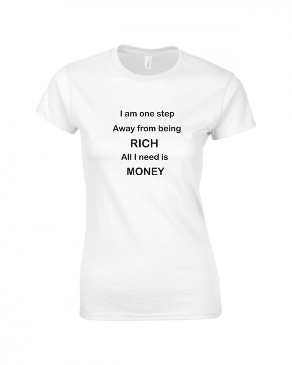 Tricou bumbac dama unisex alb negru imprimat serigrafie Rich  | Toroadv.ro