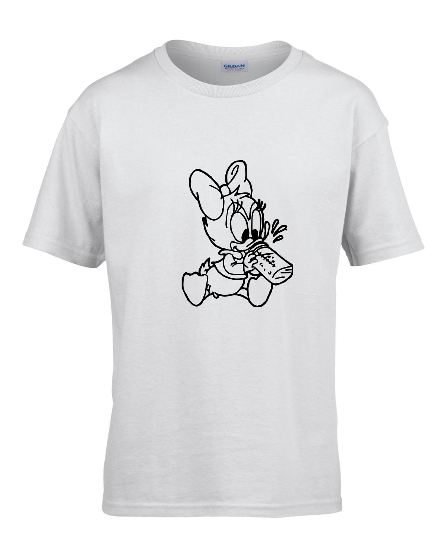 Tricou bumbac copii unisex alb imprimat serigrafie baby Daisy