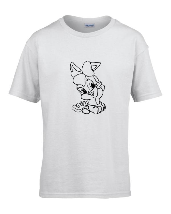 Tricou bumbac copii unisex alb imprimat serigrafie Baby Lola Bunny