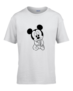 Tricou bumbac copii unisex alb imprimat serigrafie Baby Mickey