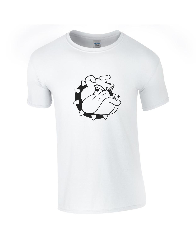 Tricou bumbac dama unisex alb negru imprimat serigrafie Angry dog