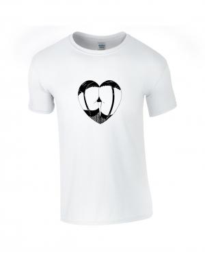 Tricou bumbac dama unisex alb negru imprimat DTG Sexy heart