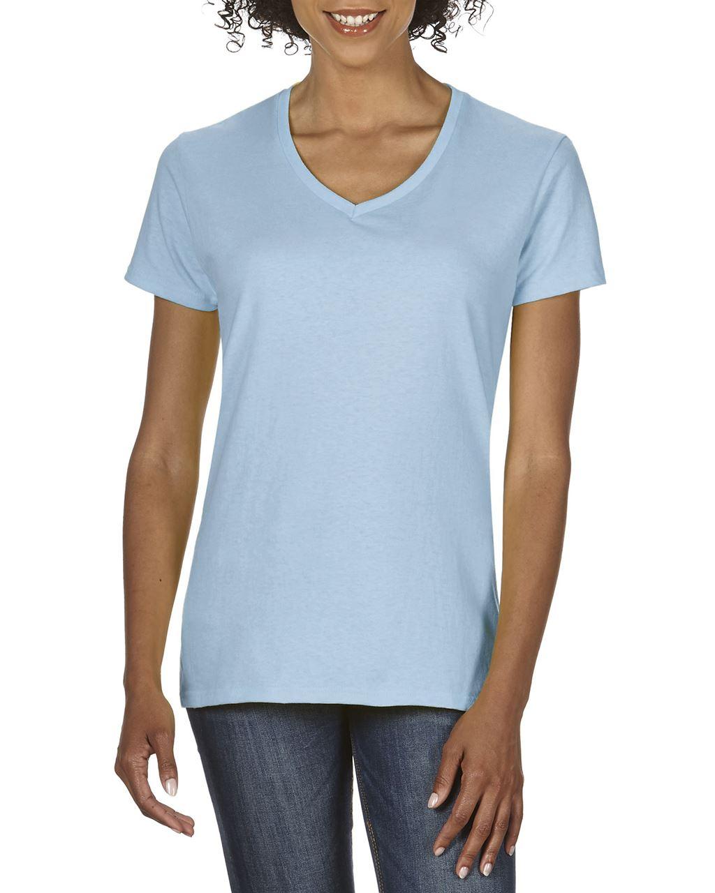 Tricou dama cu guler in V Gildan Premium Cotton bumbac 185 g/mp serigrafie termotransfer broderie DTG | Toroadv.ro