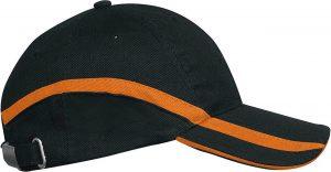 Sapca KP063 negru portocaliu Caciuli sepci personalizate fulare manusi acryl bumbac poliester fleece polar reglabil catarama termotransfer serigrafie broderie