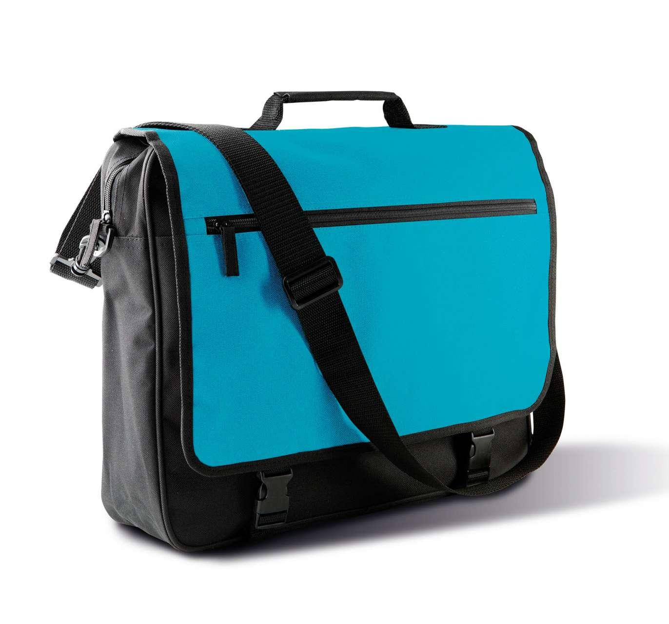 Geanta KI0412 negru turquoise Genti rucsacuri personalizate conferinta laptop sport compartiment serigrafie broderie termotransfer