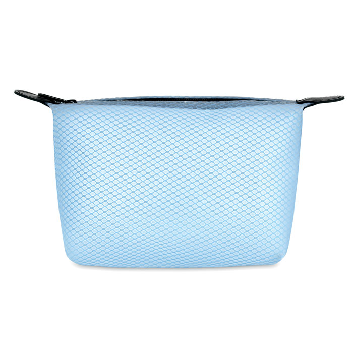 Geanta transparenta albastra cosmetice personalizata